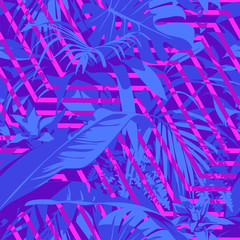 Seamless Ultraviolet Hawaiian tropical pattern with, palm leaves and flowers.
