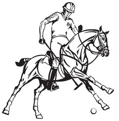 equestrian polo sport . Player riding a pony horse and holding a mallet stick to hit a ball .The  horse in gallop .Black and white vector illustration