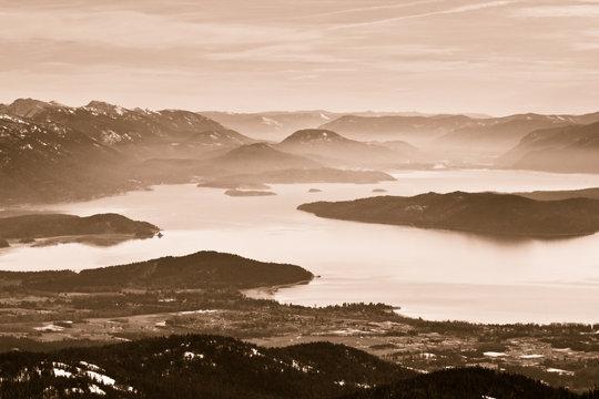 View of Sandpoint.  Schweitzer Mountain, Idaho.