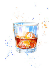Glass of a whiskey and ice .Picture of a alcoholic drink.Watercolor hand drawn illustration.White background.