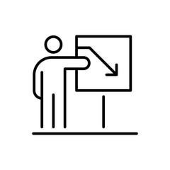 Presentation business people icon simple line flat illustration