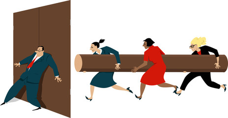 Three women with a battering ram attempting to break the door, hold shut by a male executive, EPS 8 vector illustration