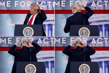 A combination picture shows U.S. President Donald Trump pretending to smooth his hair as he speaks at the Conservative Political Action Conference (CPAC) at National Harbor, Maryland