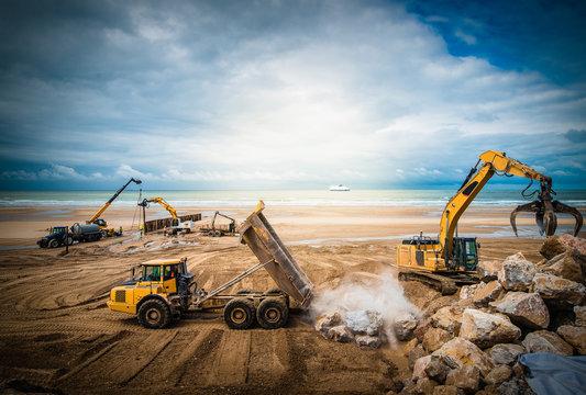chantier en action sur la plage