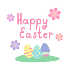 Happy Easter Greeting Card With Painted Eggs And Flowers Vector