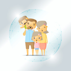 Life insurance concept with happy family protected in polygonal sphere shield , vector , illustration