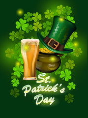 St. Patrick`s Day greeting. Vector illustration. Happy St Patricks Day.Blurred Green Background