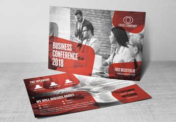 Corporate Postcard Layout with Red Accents 1