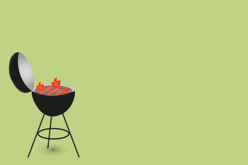 Background with barbecue with fried sausages