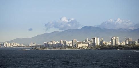 City center of San Juan, Puerto Rico seen from the sea.