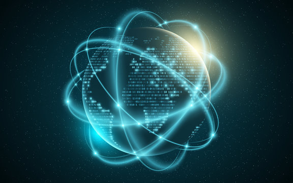 Abstract planet earth. World map from binary code. Glowing, blurry neon lines. Abstract background. Computer programming code. Global network. Vector illustration