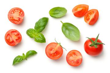 Fototapeta Tomatoes and Basil Leaves Isolated on White Background obraz