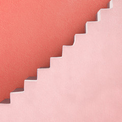 Pink stairs and red wall abstract background