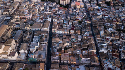 Aerial photo Italian town Noto in Sicily - the roofs  from above with small streets