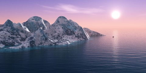 Iceberg in the sea, panorama sunset over the ice mountains in the sea