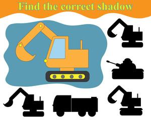 Activity for preschool children. Find the right shadow of excavator. Vector illustration.