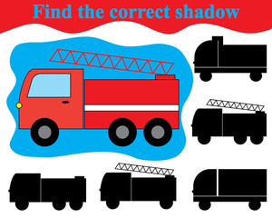 Visual game for children. Find the correct shadow of fire engine (transport).