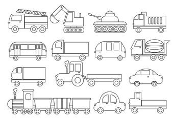 Coloring book. Set of transport. Car, bus, train, fire truck, concrete mixer, dump truck, truck, train, tractor, excavator and etc. Vector illustration.