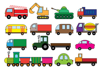 Transport cartoon, set. Surface modes of transport. Car, bus, train, fire truck, concrete mixer, dump truck, truck, train, tractor, excavator and etc.Vector illustration.