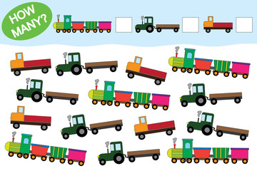 Count how many objects of transport. Educational game for preschool children.