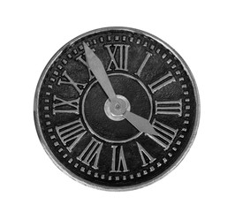 The dial of old clock on white background, isolated