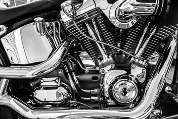 close up black and white classic motor bike engine Fototapete