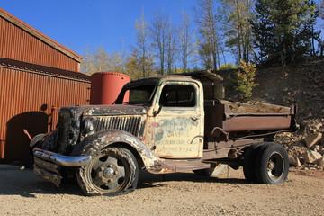 Pritschenwagen an der Mollie Katheleen Gold Mine Colorado USA