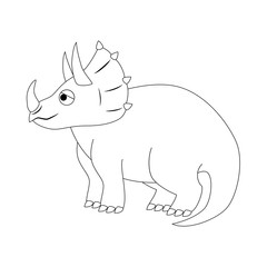 Colorless funny cartoon triceratops. Vector illustration. Colori
