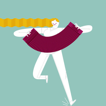 ACORDEONIST GIRL. Serie of funny illustrations with cool musicians and instruments.