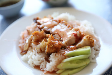 Crispy roast pork with rice , Thai food
