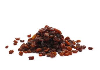 Pile raisins isolated on white background