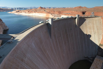 big building wall Glen Canyon Dam Arizona usa near page famous sightseeing hotspot on highway 89 south west america vacation on road trip
