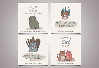 Social Media Post Layout Set with Cat Illustrations
