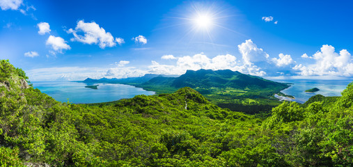 Wall Mural - Aerial view of  Mauritius islands with Le Morne Brabant mountain, Africa
