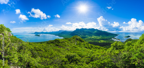 Wall mural Aerial view of  Mauritius islands with Le Morne Brabant mountain, Africa