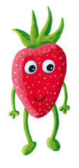 Cute happy strawberry with face