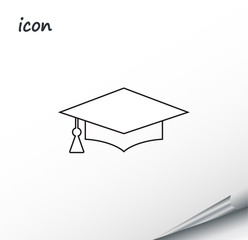 vector icon graduation cap on a wrapped silver sheet