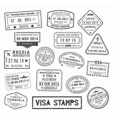 Visa stamps or passport signs of immigration
