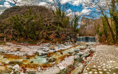 Panorama of Loutra Pozar Hot Springs, one of the most popular tourist destination in Greece