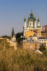 View of the Saint Andrew's Church and Richard Castle, Podil, Kyiv panorana, Ukraine