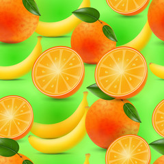 Seamless texture. oranges and bananas. vector illustration