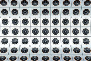 Background from steel loudspeakers, 3D rendering