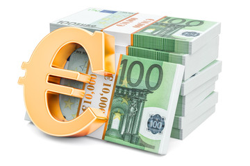 Euro packs with golden euro symbol, 3D rendering