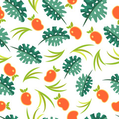 Seamless pattern from tropical fruits and leaves. infinite texture. for advertising and promotion.