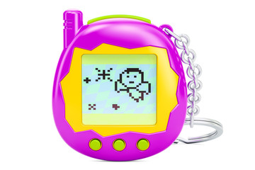 Tamagotchi game, pets pocket game, 3D rendering