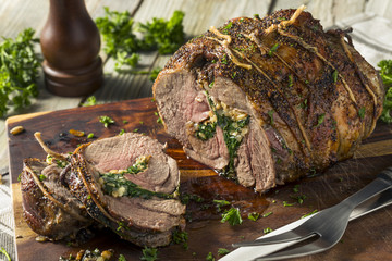 Roasted Stuffed Leg of Lamb