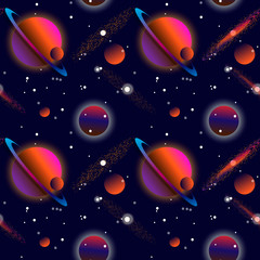 Realistic open space. The milky way, stars and planets. Alien planet background. Gas giant with planets.Vector cosmic illustration. Seamless pattern