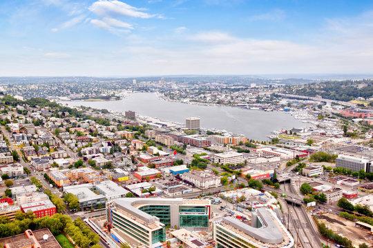 Aerial View of Suburban Seattle Neighborhood Around Lake Union