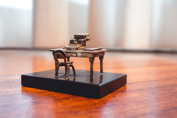Miniature Old Desk with Typewriter Macro