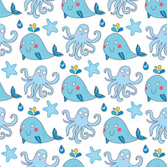 Seamless vector pattern with underwater creatures like octopus, whale, starfish. Lovely vector illustration.